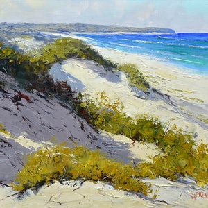 (CreativeWork) Light across the dunes, central coast by Graham Gercken. oil-painting. Shop online at Bluethumb.