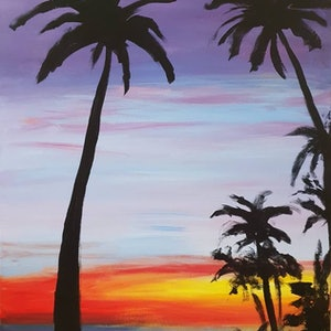 (CreativeWork) Dusk at Waikiki by Jenny Moynahan. arcylic-painting. Shop online at Bluethumb.