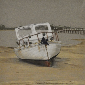 (CreativeWork) Grey Day, low tide by John Barcham. drawing. Shop online at Bluethumb.