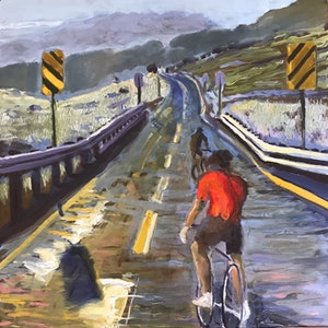 (CreativeWork) Thin air cycling. Kosciuszko by fiona smith. oil-painting. Shop online at Bluethumb.