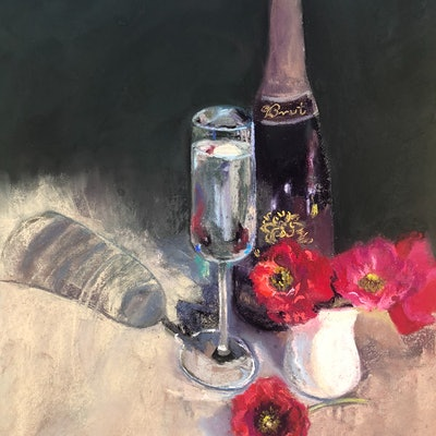 (CreativeWork) Wine with Ranunculus  by Trish Arden. drawing. Shop online at Bluethumb.