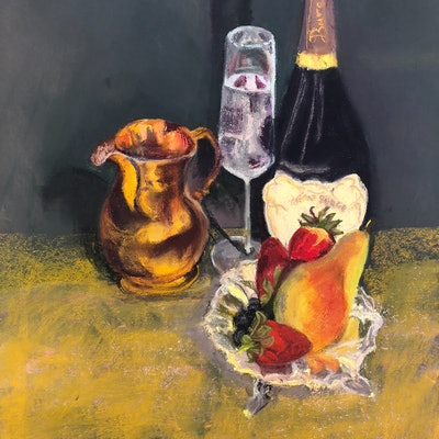 (CreativeWork) Wine with Fruit by Trish Arden. drawing. Shop online at Bluethumb.