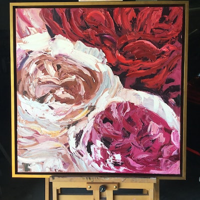 (CreativeWork) Swirling Roses by Trish Arden. oil-painting. Shop online at Bluethumb.