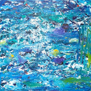 (CreativeWork) The Jetty - Blue Oceans by Annette Spinks. arcylic-painting. Shop online at Bluethumb.