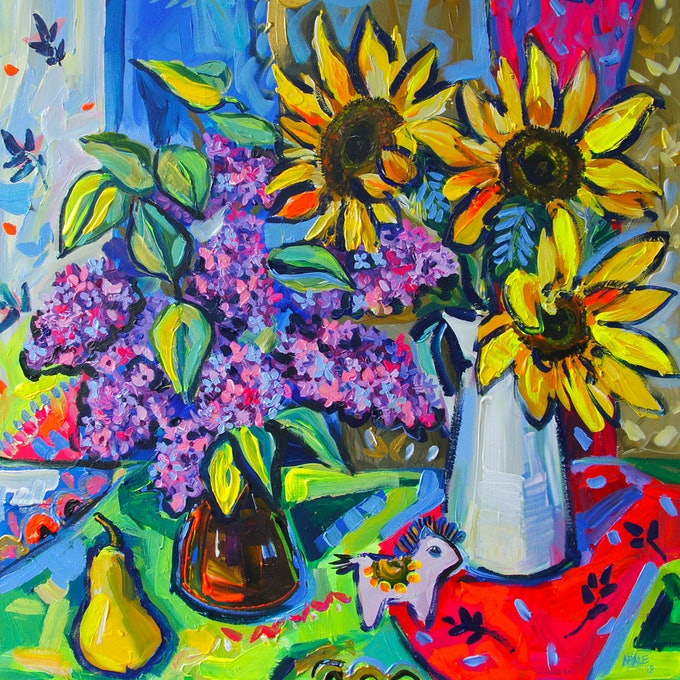 (CreativeWork) Still Life with Lilacs and Sunflowers by Katerina Apale. arcylic-painting. Shop online at Bluethumb.