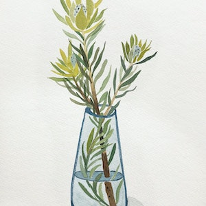 (CreativeWork) Chartreuse Leucadendron in Blue Glass by Sally Browne. watercolour. Shop online at Bluethumb.