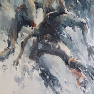 (CreativeWork) Water people 3 by Tony Belobrajdic. watercolour. Shop online at Bluethumb.