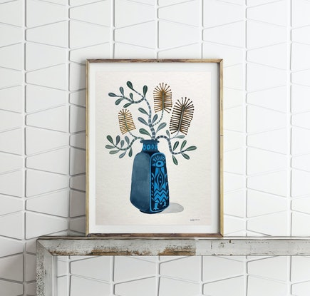 (CreativeWork) Coastal Banksia in Peacock Vase by Sally Browne. #<Filter:0x00007f59fc753f98>. Shop online at Bluethumb.