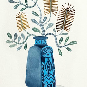 (CreativeWork) Coastal Banksia in Peacock Vase by Sally Browne. watercolour. Shop online at Bluethumb.