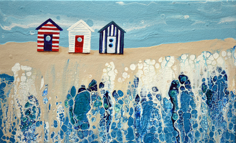 (CreativeWork) Beach Huts #2 by Brigitte Ackland. arcylic-painting. Shop online at Bluethumb.