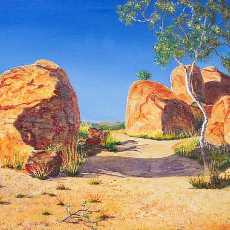 (CreativeWork) Devils Marbles Glowing in Spring Sunshine  by Monika Scheffler. Acrylic Paint. Shop online at Bluethumb.