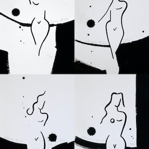(CreativeWork) Women series line drawings - set of four - #3 by Damien Venditti. drawing. Shop online at Bluethumb.