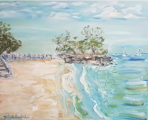 (CreativeWork) Balmoral Beach by Liz H Lovell. Oil Paint. Shop online at Bluethumb.