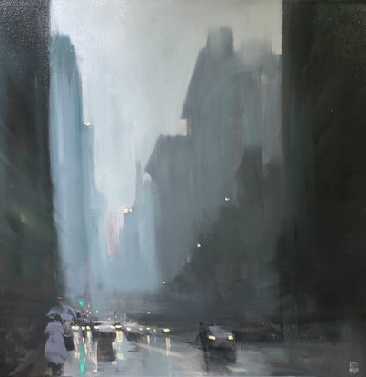 (CreativeWork) Downtown Rain - New York - Original Rainy cityscape by Mike Barr by Mike Barr. Oil. Shop online at Bluethumb.