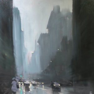 (CreativeWork) Downtown Rain - New York - Original Rainy cityscape by Mike Barr by Mike Barr. oil-painting. Shop online at Bluethumb.