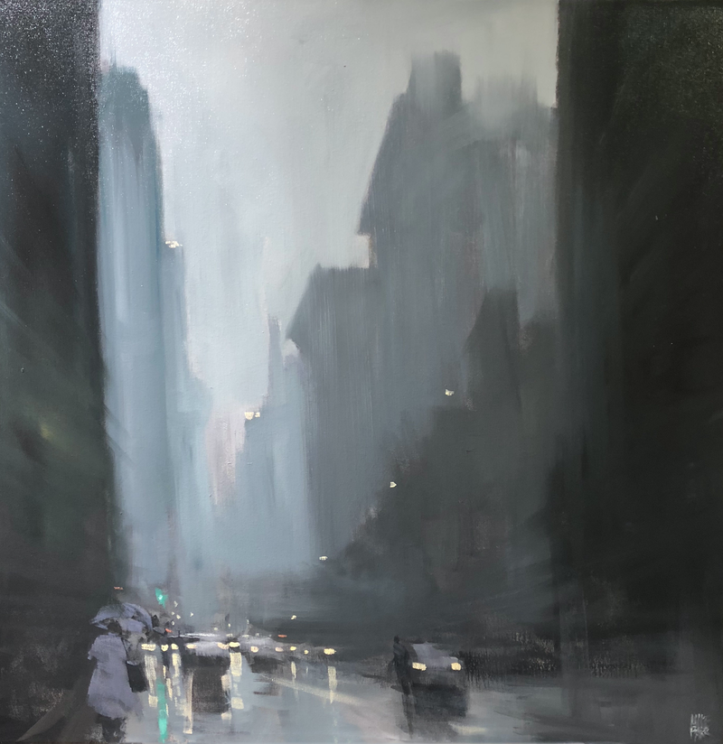 (CreativeWork) Downtown Rain - New York - Original Rainy cityscape by Mike Barr by Mike Barr. Oil Paint. Shop online at Bluethumb.