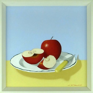 (CreativeWork) Apples on Plate by James McFarlane. oil-painting. Shop online at Bluethumb.
