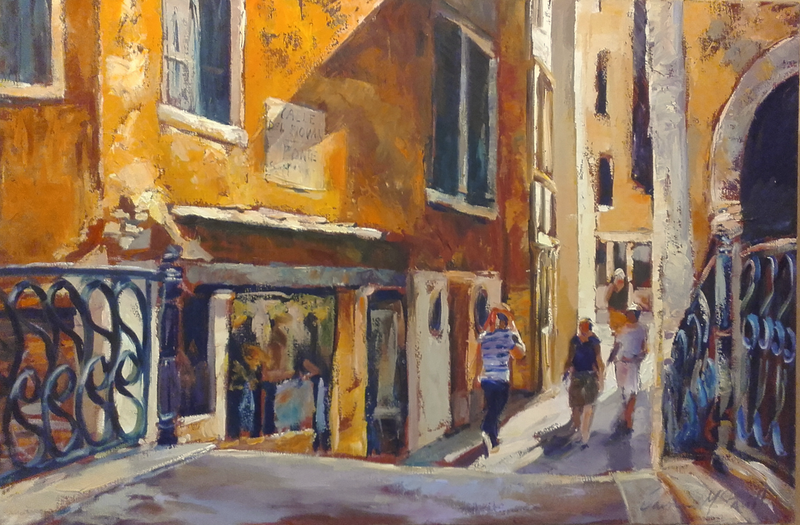 (CreativeWork) Shopping In Venice by Carmen McFaull. oil-painting. Shop online at Bluethumb.