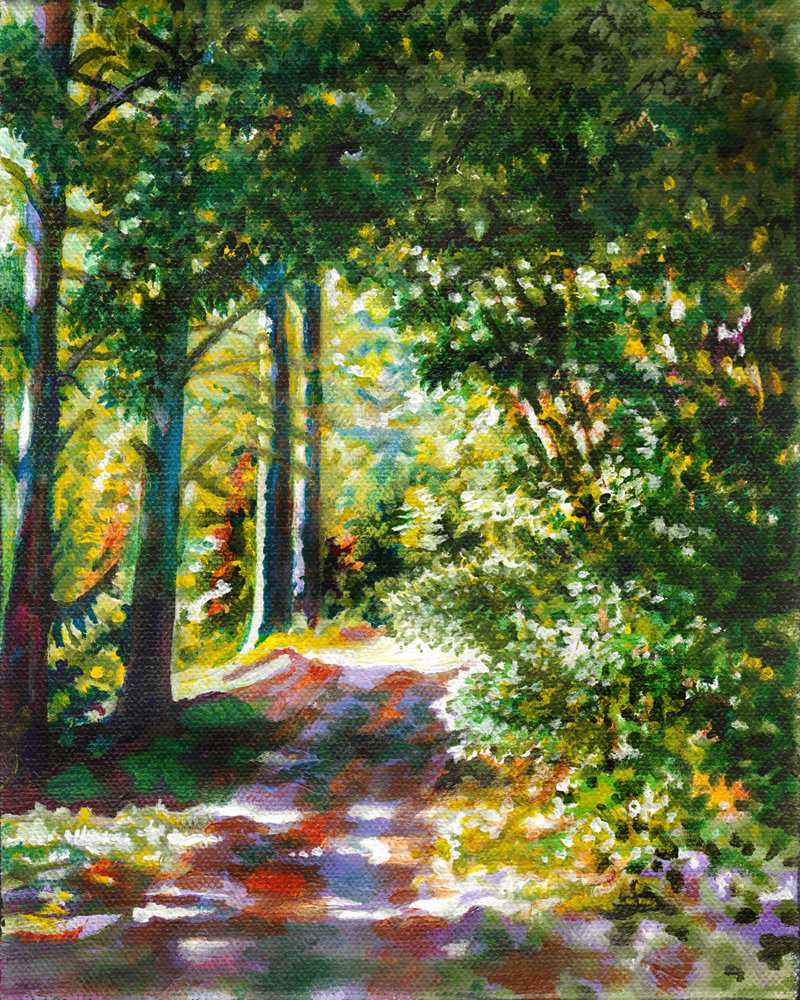 (CreativeWork) The Picnic Spot - Forest Path by Jillian Crider. Acrylic Paint. Shop online at Bluethumb.