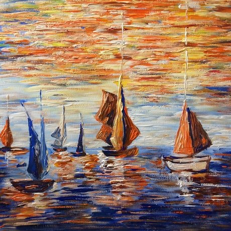 (CreativeWork) sailing at sea by Rain wu. Acrylic Paint. Shop online at Bluethumb.