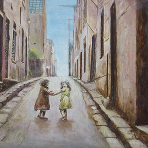 (CreativeWork) Young Friends at Surry Hills c.1949 by Michael Bessell. oil-painting. Shop online at Bluethumb.