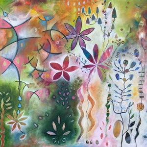 (CreativeWork) My Happy Garden by Tania Weekes. oil-painting. Shop online at Bluethumb.