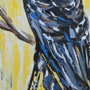 (CreativeWork) Mellow Yellow Black Cockatoo by Lisa Fahey. arcylic-painting. Shop online at Bluethumb.