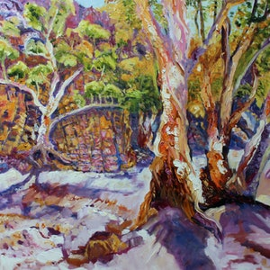 (CreativeWork) FLINDERS RANGES GUM TREES by Maureen Finck. oil-painting. Shop online at Bluethumb.