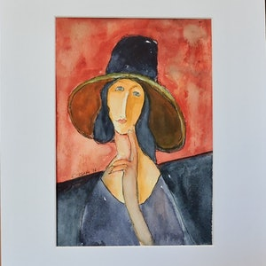 (CreativeWork) Lady In Black Hat by Noela O'Keefe. watercolour. Shop online at Bluethumb.