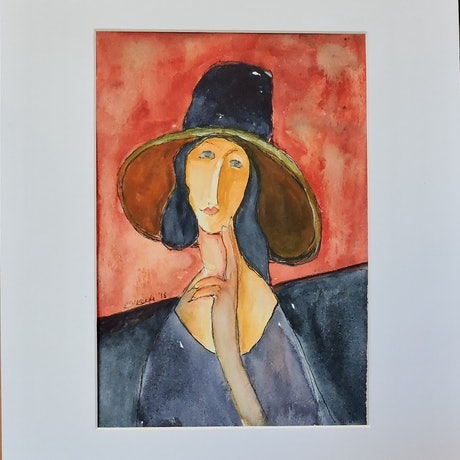 (CreativeWork) Lady In Black Hat by Noela O'Keefe. Watercolour Paint. Shop online at Bluethumb.