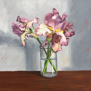 (CreativeWork) Fowlers with Iris by Sandra Jenkins. oil-painting. Shop online at Bluethumb.