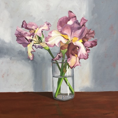 (CreativeWork) Flowers with Iris by Sandra Jenkins. oil-painting. Shop online at Bluethumb.