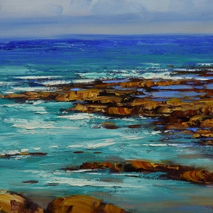 (CreativeWork) Rocks and surf by Graham Gercken. oil-painting. Shop online at Bluethumb.