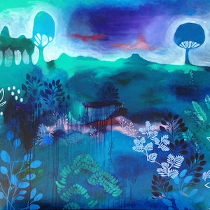 (CreativeWork) Beyond the Garden Wall by Leah Doeland. Acrylic Paint. Shop online at Bluethumb.