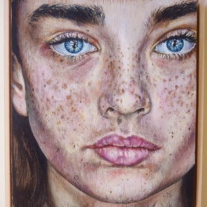 (CreativeWork) 'Raw' Portrait on wood (Framed) by Carli Wilson. arcylic-painting. Shop online at Bluethumb.