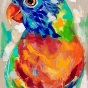 (CreativeWork) Sunrise lorikeet  by Amanda Brooks. arcylic-painting. Shop online at Bluethumb.