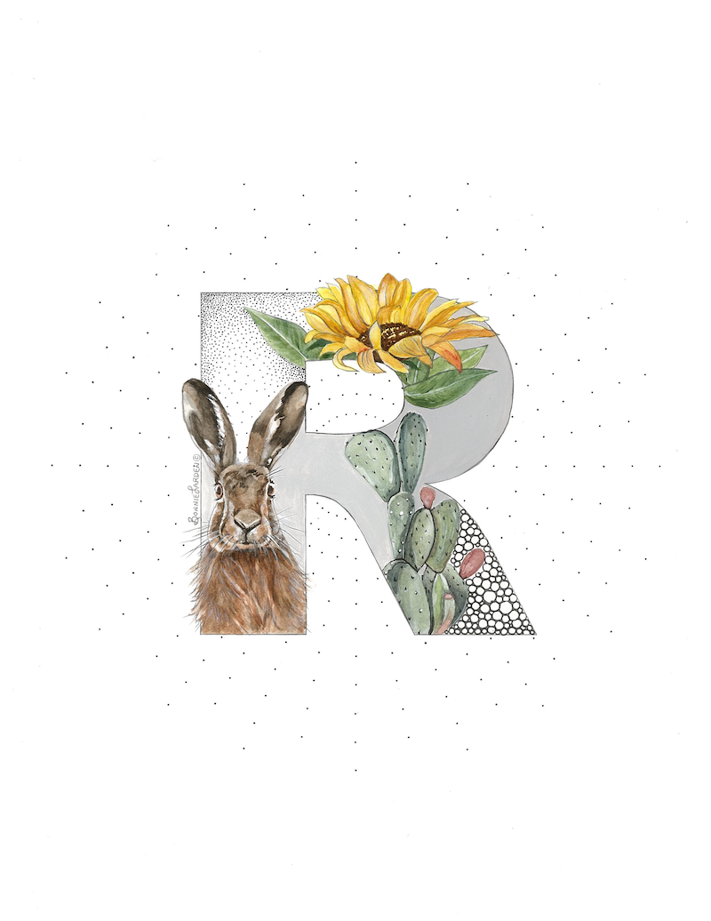 (CreativeWork) SALE* R is for Rabbit by Bonnie Larden. Mixed Media. Shop online at Bluethumb.