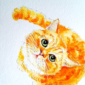 (CreativeWork) Ginger Cat 2 by Olga Kolesnik. watercolour. Shop online at Bluethumb.