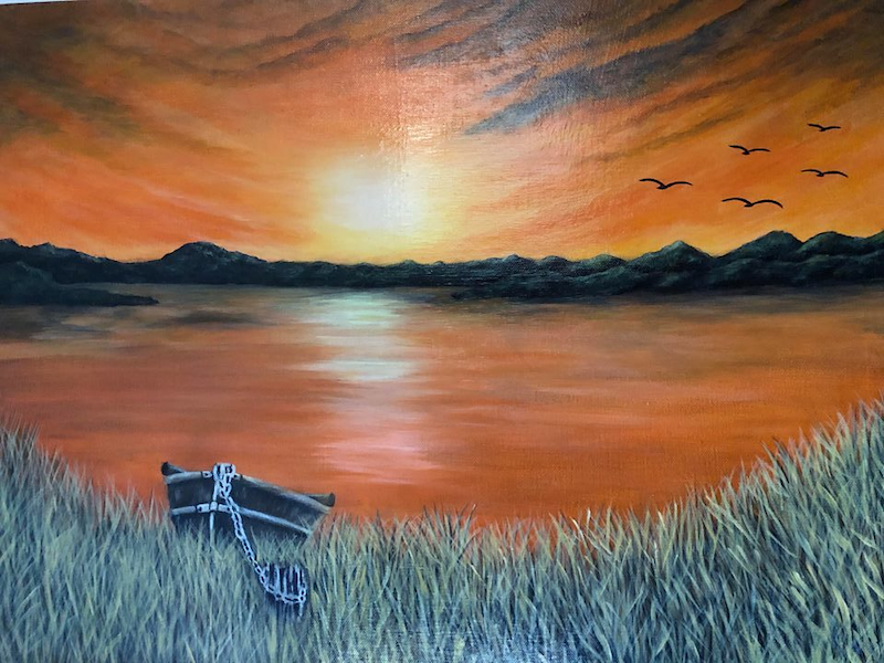 (CreativeWork) Aussie Billabong by Donna Parker. arcylic-painting. Shop online at Bluethumb.