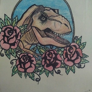 "(CreativeWork) ""Neo-Traditional T-Rex & Flowers"" (29x37.5- allow 2 days for framing) by K.A. Oakley. drawing. Shop online at Bluethumb."