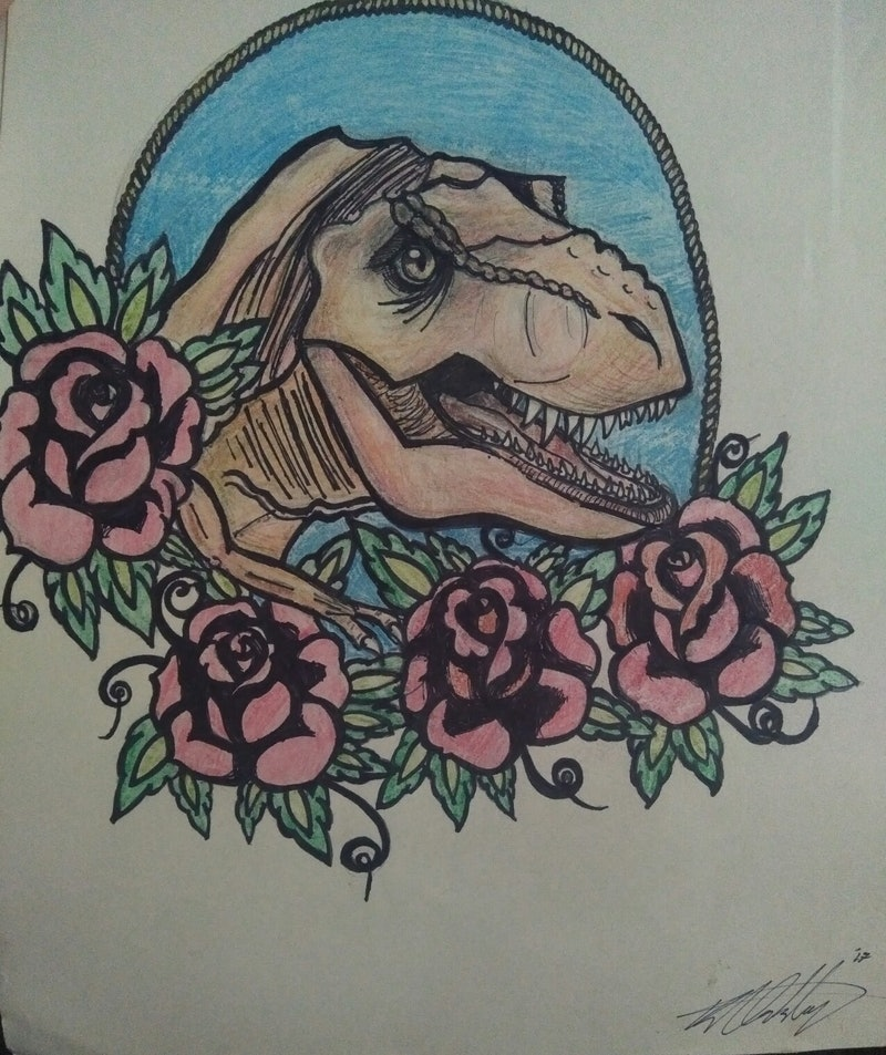 e97dfd725 Neo-Traditional T-Rex & Flowers