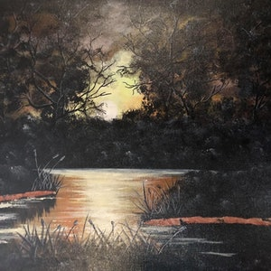 (CreativeWork) Aussie sunset 2 by Donna Parker. arcylic-painting. Shop online at Bluethumb.