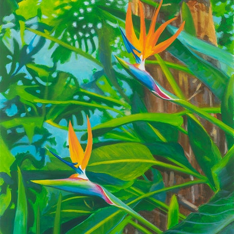 (CreativeWork) A couple of birds in paradise by Michelle Angelique. Acrylic Paint. Shop online at Bluethumb.