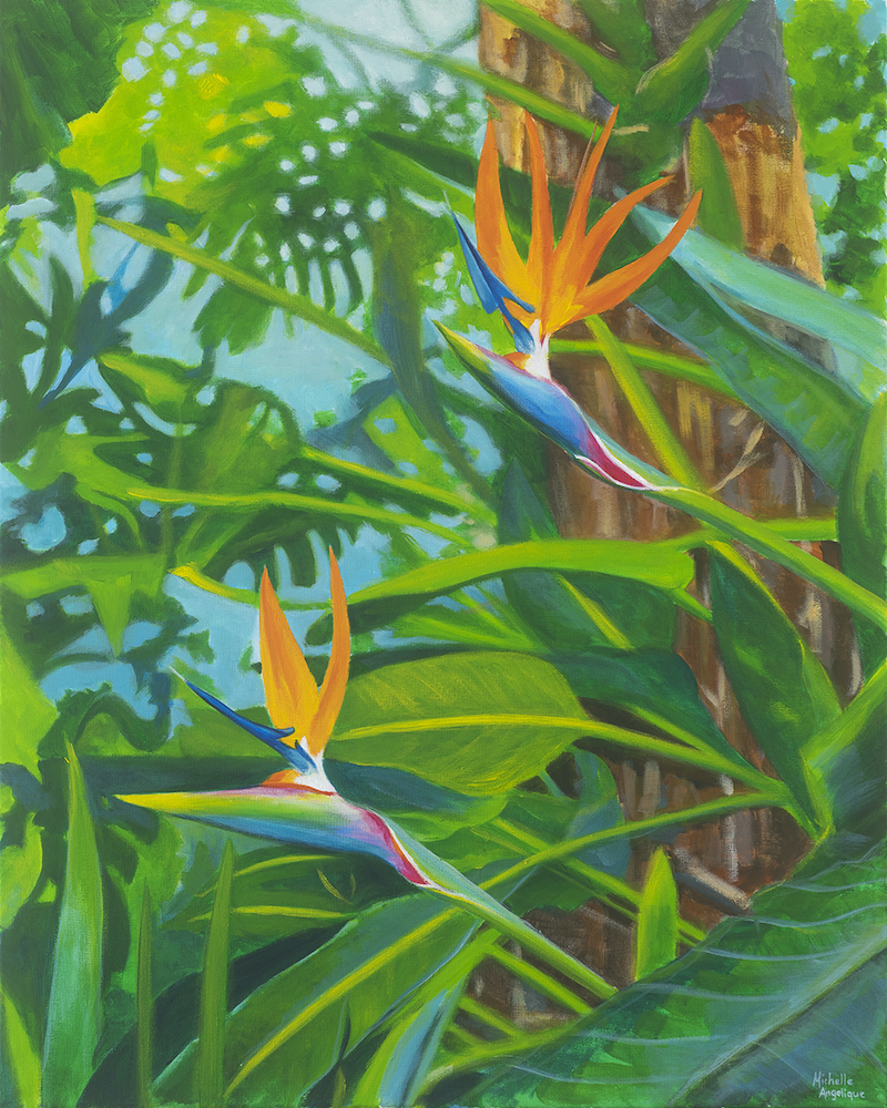 (CreativeWork) A couple of birds in paradise by Michelle Angelique. acrylic-painting. Shop online at Bluethumb.