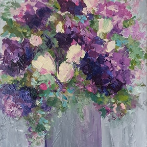 (CreativeWork) Old fashioned bouquet by Jenny Moynahan. arcylic-painting. Shop online at Bluethumb.