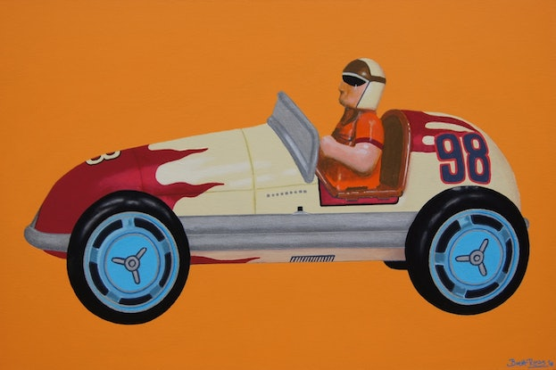 (CreativeWork) The Racing Car by BRETT ROSE. Acrylic Paint. Shop online at Bluethumb.