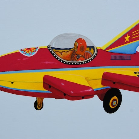 (CreativeWork) The Red and Yellow Rocket by BRETT ROSE. Acrylic Paint. Shop online at Bluethumb.