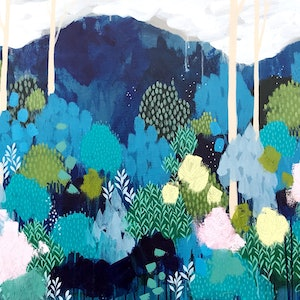 (CreativeWork) Blue Woods, original expressionist landscape painting by Clair Bremner by Clair Bremner. arcylic-painting. Shop online at Bluethumb.
