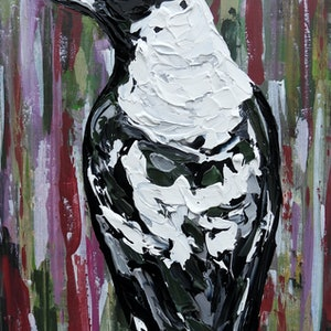 (CreativeWork) Rosie the Magpie by Lisa Fahey. arcylic-painting. Shop online at Bluethumb.