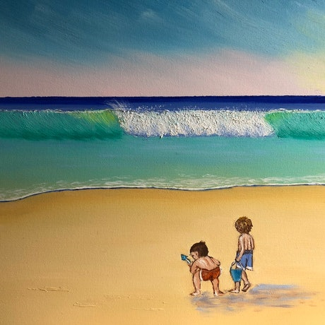 (CreativeWork) Just  2 Little Boys At The Beach 🏖  Series 1 by Judy Staehr. Oil Paint. Shop online at Bluethumb.